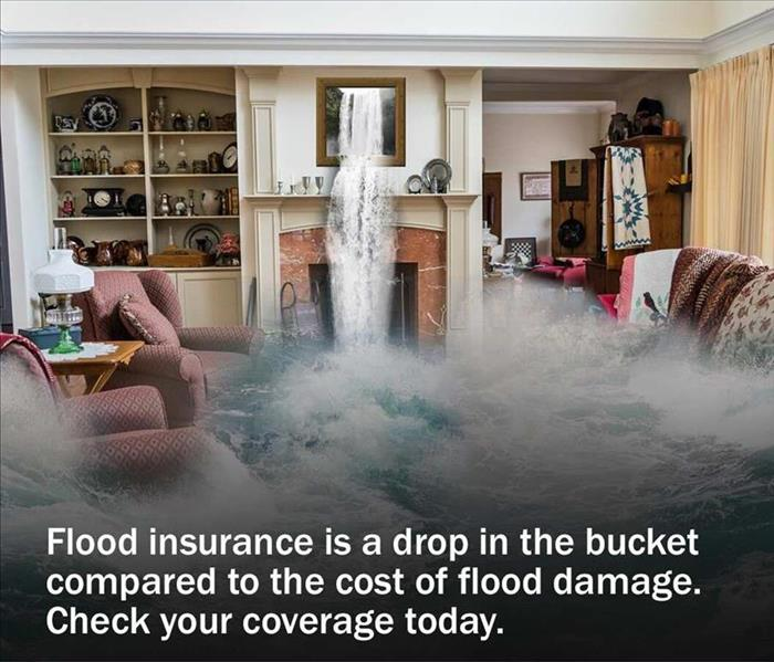 water flooding through a living room ceiling