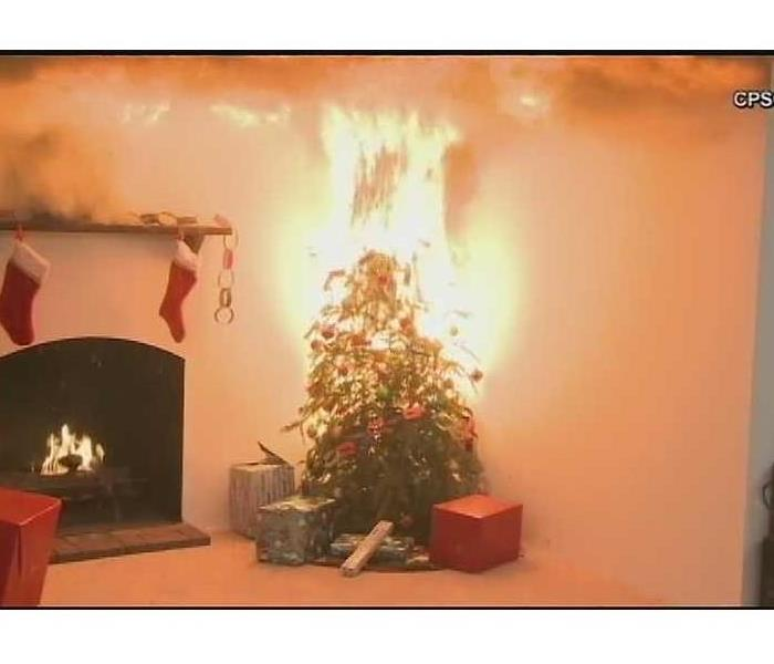 living room of a home with stockings hung by a fireplace and a christmas tree on fire